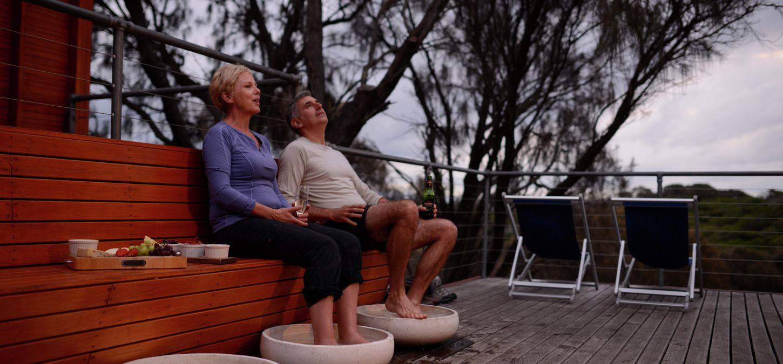 Sunset Bay of Fires Lodge Tasmania foot bath