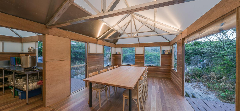 Sunset Bay of Fires Lodge  Walk Tasmania camp kitchen