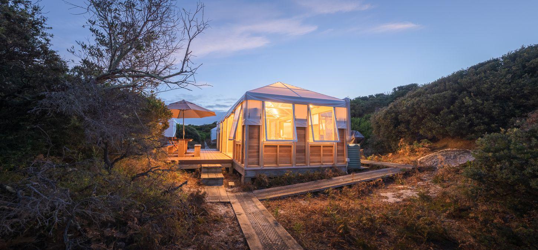 Sunset Bay of Fires Lodge Walk Tasmania camp