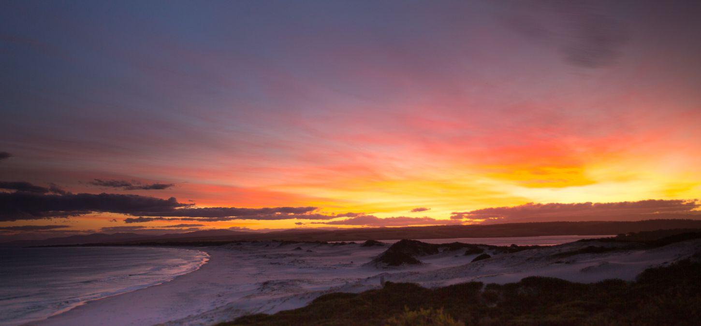 Bay of Fires Lodge Tasmania sand dunes at sun set