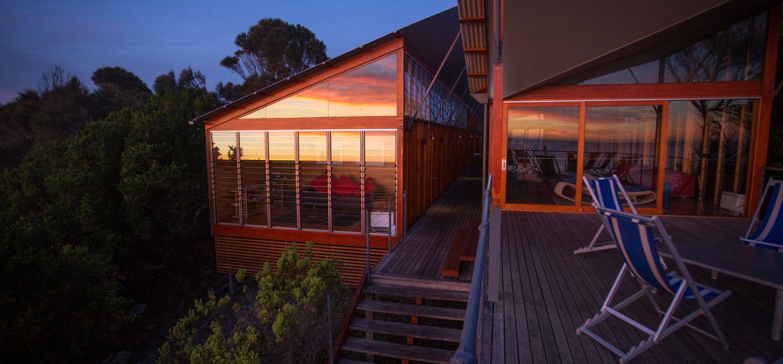 Bay of Fires Lodge Tasmania sunrise in the window