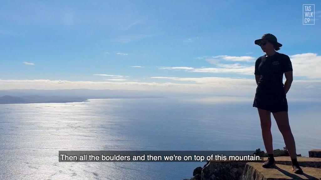Summit of Bishop & Clerk, Maria Island, Wineglass Bay Sail Walk, Tasmanian Walking Company