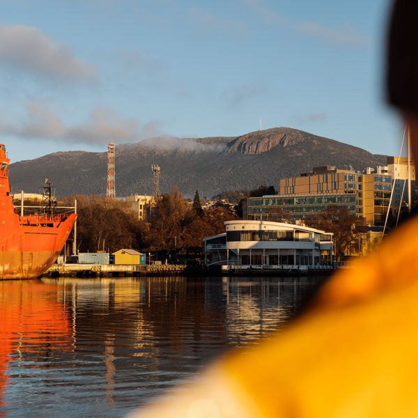 View of Mount Wellington leaving Hobart